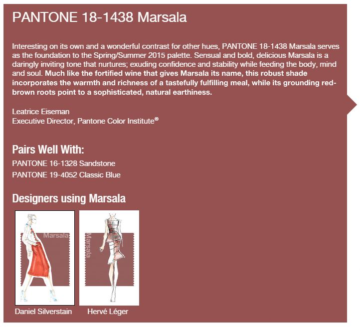 Pantone Color of the Year 2015 is….Marsala?