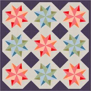 Woven Stars Wall Quilt Featuring the Color Weave Medley collection