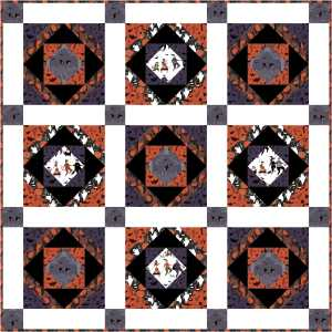 Coming Soon- This Tricks a Treat Wall Quilt featuring Mischief Night collection