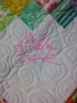 Eek! Tula Pink in person! Thanks for signing my quilt!